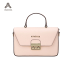 Buying Agent Promotional Embossed Pu Leather Pink Detachable Strap Hand Bag For Ladies