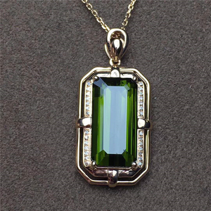 ethiopian pendant 18k gold South Africa real diamond natural tourmaline pendant for women jewelry