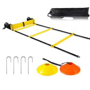 12 rungs agility ladder with 12 field cones and 4 Stakes footwork equipment for soccer football drills
