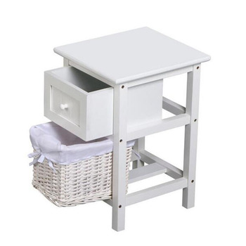 White Wooden Bedside Cabinets Tables With Wicker Basket Product On