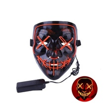 2019 Factory Sell El Purge Glowing Neon Party Led Mask For  Halloween