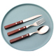 stainless steel silver restaurant hotel spoon fork flatware set with wooden handle