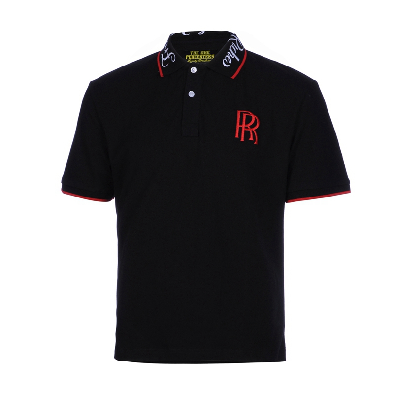 Latest designs polo shirts for men 100% cotton embroidery black short sleeve polo shirt