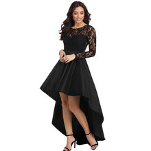 Vrouwen Sexy Fashion Mouwen Ronde Kraag Lace <span class=keywords><strong>Maxi</strong></span> <span class=keywords><strong>Lange</strong></span> Gehaakte Tailcoat Hoge Lage Satin Cocktail Elegante Prom Party Dress
