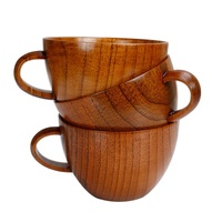 Hot Selling Natural Jujube Big Coffee Mugs,Japanese Brown Wood Soup Bowls with Handle