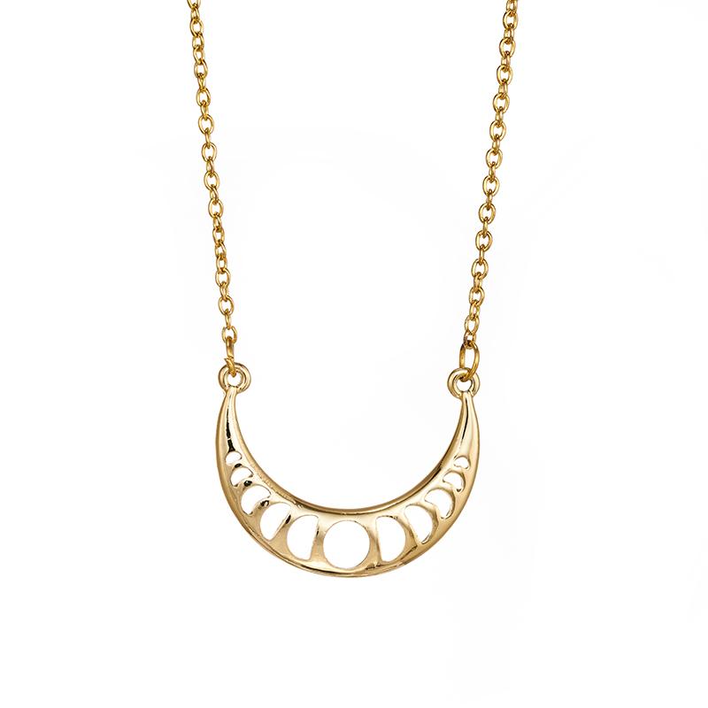 Women Creative Crescent Necklace Lunar Half New Moon Pendant  Alloy Jewelry
