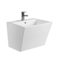 High Grade Wall hung sink ceramic Square basin Bathroom hanging one piece Washbasin