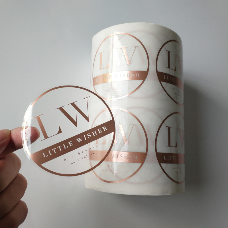 Custom Printing Roll Transpa Labels Clear Gold Foil Self Adhesive Private Sticker Product On
