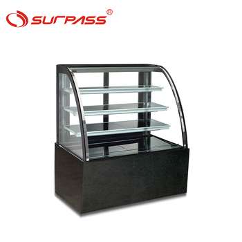 Tempered Curved glass bakery chocolate display showcase cabinet 4 shelve