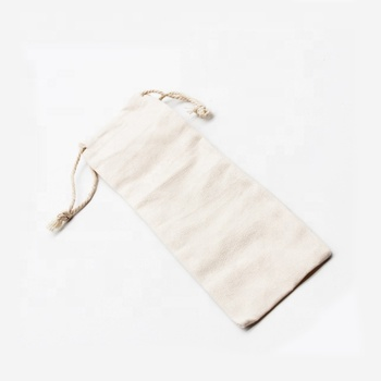 100% Eco-friendly Drinking straw canvas bag cloth bag pouch packing fabric bag for straw with logo custom