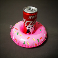 Inflatable floating doughnut beer can drink holder