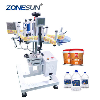 ZONESUN XL-T852 Automatic Portable Curved Surface Labeling Machine Label Applicator Bottle Sticker Labeler For Carton Bucket
