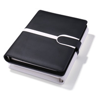 New Design Black White Wholesale Journal Diary A5 Ring Binder Magnetic Closure Notebook