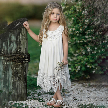 2019 summer new flower girls openwork princess dress baby beautiful white hollow lace fairy dress