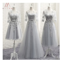 Cheap Silver Gray Organza Long Bridesmaid Dresses Custom Party Gowns Backless Half Sleeves Lace Homecoming Gowns