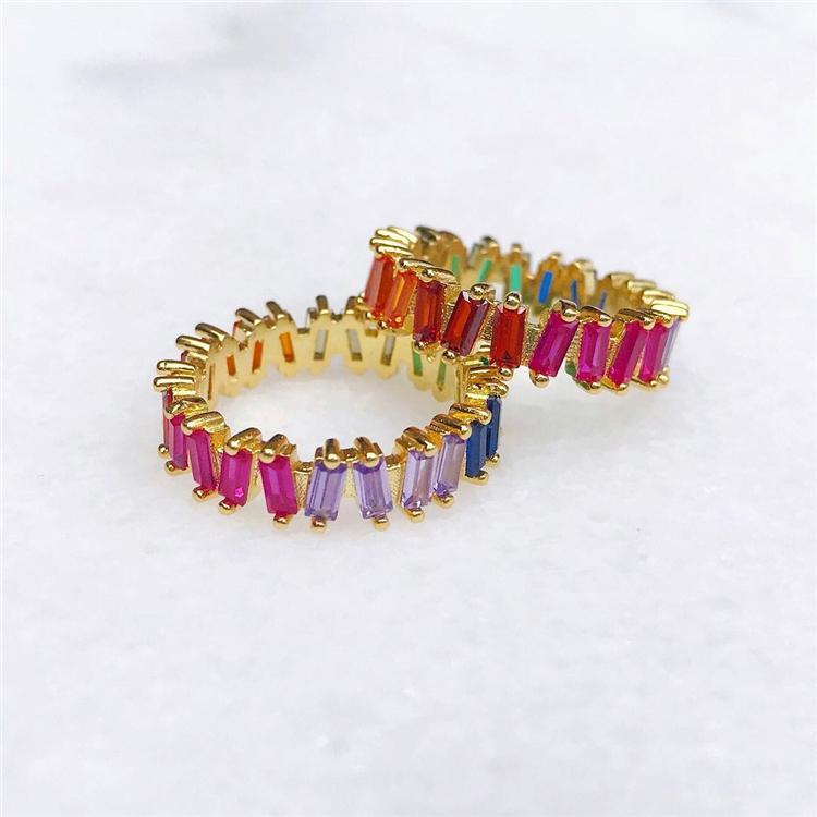 Groothandel Kunstmatige Sieraden Mix Kleur Steen Kleurrijke Cz Regenboog Zirconia Ring