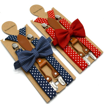 6Colors Polka Dot Bow Tie Suspenders for Men Women 4 Clip Leather Suspensorio Adult Bowtie Braces for Trousers Navy Red