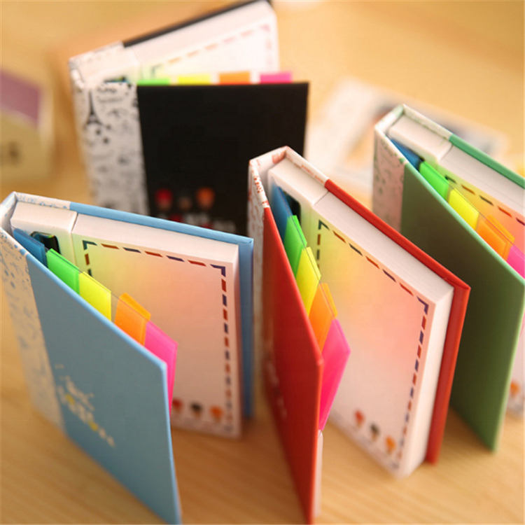 Memo pad set leuke boekenlegger hard cover sticky notes met pen voor kids school