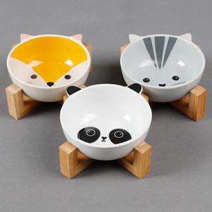 Wholesale Dropshipping Ceramic Pet Bowl Bamboo Shelf Pet Dog Food Water  Feeder