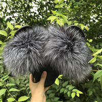 A large number of wholesale colorful raccoon fur slippers comfortable anti-skid variety for various occasions