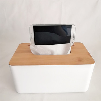 Hot sale high quality car plastic paper tissue box holder with bamboo cover