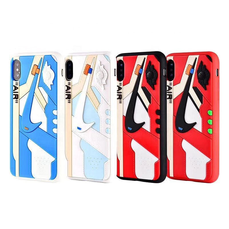 For iPhone 11 Pro Max 6 7 8 Plus X XS XR MAX Silicone 3D AIR Jordan AJ1 Sports Shoes Phone Cases Off White Cover