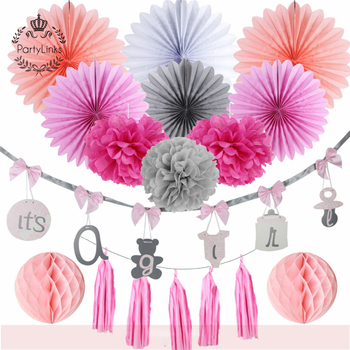 Yiwu Gender Reveal Party Supplies It's A Girl Banner Baby Pom Poms Paper Lantern Baby Shower Decorations Supplies