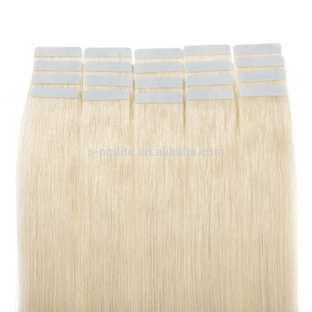 18'' Platinum blonde 40pcs invisible russian remy tape on hair extension