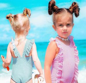 3ed6c7e7ccf Wholesale Ruffle Stripe Bathing Suits Baby Children Swimsuit Kids Girls  Swimwear