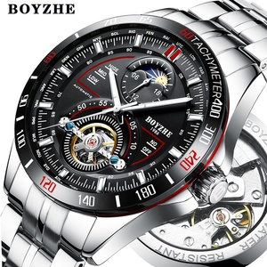 BOYZHE top luxury men waterproof moon phase tourbillon automatic mechanical stainless steel watch