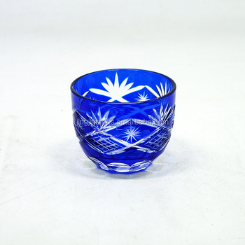 Blue Japanese style tea bowl  glass drinking household decorates