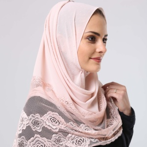 Fashion Bubble Chiffon Rose Lace Malaysia Muslim Solid Plain Shawl Pearl Scarf Hijab