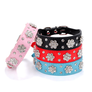 Pet supply accessory wholesale leather dog collar dog diamond collar