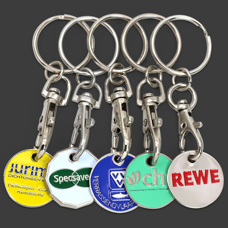 Cheap Metal Custom Supermarket Trolley Coin Key Ring Keyring With Coin