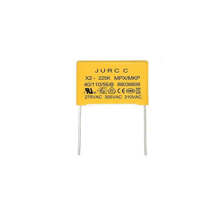 JURCC 225k capacitance film suppression capacitor x2 2.2uf 310vac 2.2uf 275v 310v dip capacitor x2 mkp/mpx 2.2uf 330vac 225