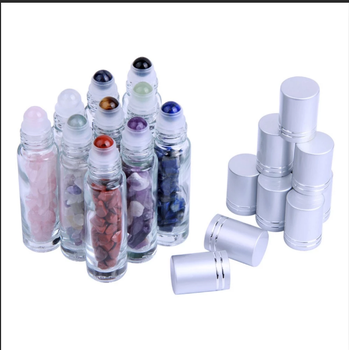10ml clear glass roll on bottles with stone roller balls gemstone roll on ball