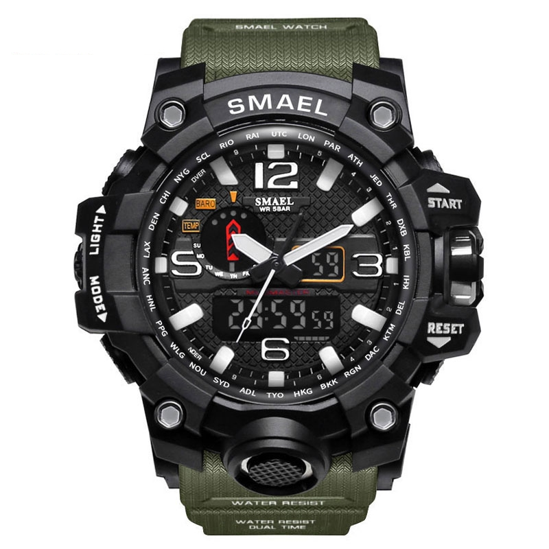 SMAEL manufacturer online wholesale 1545 outdoor waterproof dual time mens sport watch