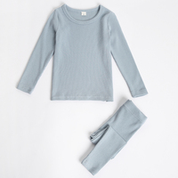 children pajamas kids plain color ribbed cotton pajamas sets girls boys long sleeves sleepwear