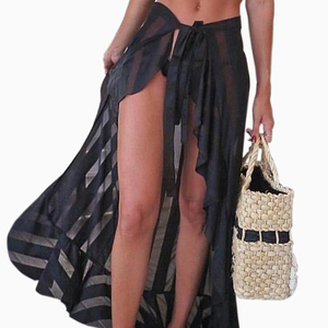 2019 Wholesale New Design Summer Holiday Vacation Black Sheer Wrap Sarong Maxi Beach Skirt Beach Dress For Women Lady