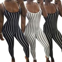 Vrouwen <span class=keywords><strong>mouwloze</strong></span> streep print bandage club jumpsuits