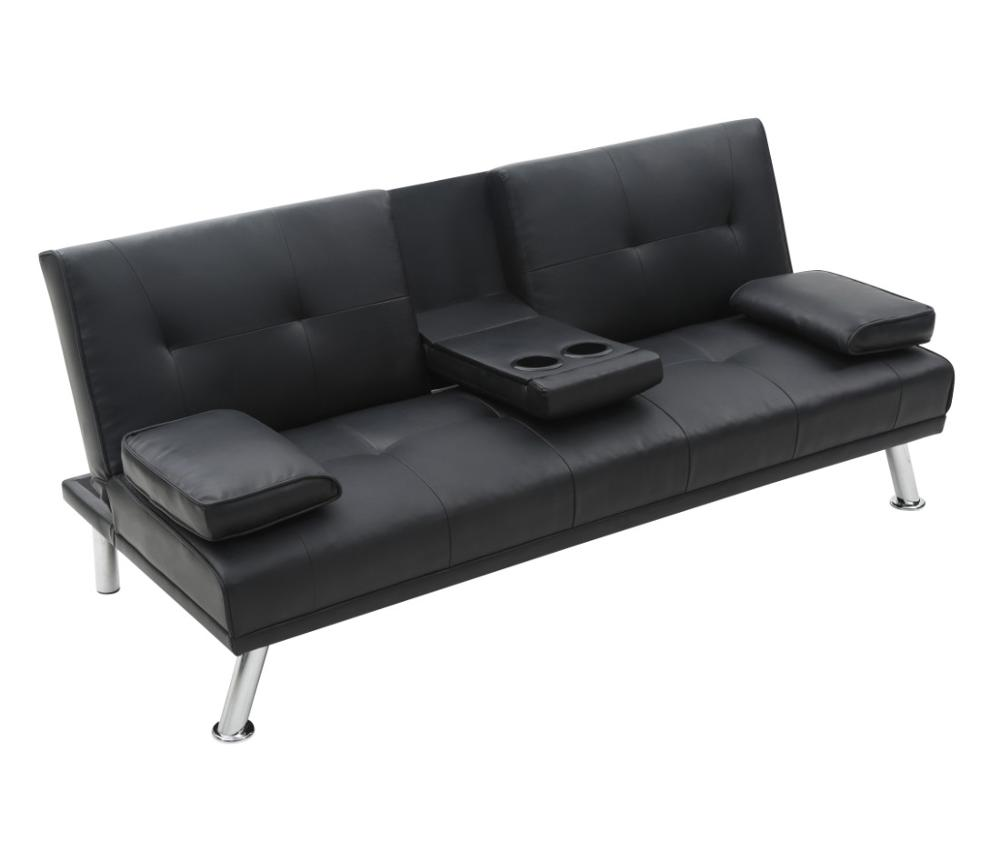 Pu Inclinable En Cuir Longue Canapé Futon Chaise Noir Avec Gobelets Lit Convertible Porte 1JlKcTF