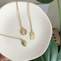 Vintage Charm Custom necklace personalized Jewelry Elizabeth Real Gold Plated 925 Coin pendant necklace