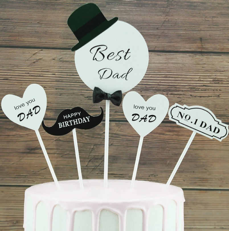 30x I Love Dad PRE CUT cake toppers Fathers day Birthday Wafer cupcake