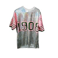New Long sleeved sequin Top sexy sparkly hip hop Pink and green number AKA 1908 sequin beadedT-shirt jumper
