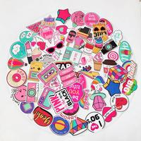 130PCS Pink Sticker Bomb Pack Vinyl Pop Cute Stickers for Laptop Skateboard,Bike,Luggage,PS4,Xbos one,iPhone