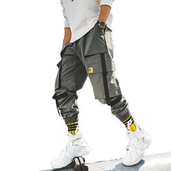 2019 autumn new fashion design loose fit mens cargo pants with 6 pockets with fabric tape custom logo