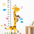 MY125 Cartoon Giraffe Height Measurement Wall Stickers for Kids Home Decor DIY Art Decal