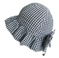 Children'S Bucket Hat Fashion Baby Sun Hat With Checked Bubble Fabric