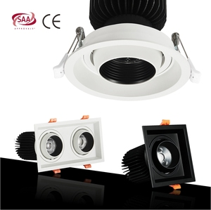 HH06 Rgbw Glass Replacement 18w 230v Black Square Motion Spring Recessed Adjustable LED Light Downlight