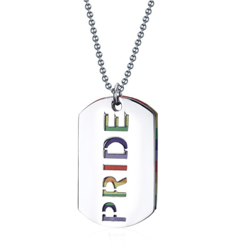 Gay pride multicolor dog tags necklace  for men women